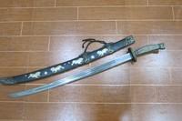 Rare Old Qing Dynasty  warriors  Katana/ DAO/sword,Lions play Hydrangea,with mark  Free Shipping