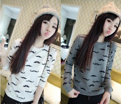 The new 2014 spring autumn fashion leisure coat, artwork design moustache women's clothes, sexy woman Sweatshirts(China (Mainland))