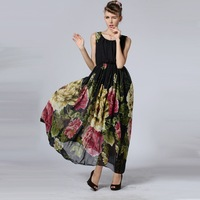 New Fashion 2014 Elegant O-neck sleeveless To the ankle chiffon Casual Women Dresses Summer Print Long Dress Party Dress