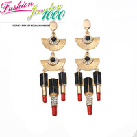 New Brand Gold-plated Hand Fan Attract Lip Gloss Rhinestone Dangle Earrings Fashion Anniversary Jewelry  For Women Free Shipping