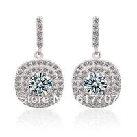 Square AAA Cubic Zirconia Bridal Dangle Earrings for Women Imitated Gemstone Jewelry Nickel Free
