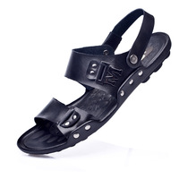 Free shipping 2014 male sandals slippers genuine leather cowhide male sandals outdoor casual dual-use leather sandals
