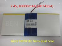 [L128] 7.4V,10000mAH,[4074224] PLIB (polymer lithium ion battery ) Li-ion battery for tablet pc;For Ainol NOVO10 hero dual core