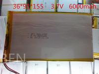 Free shipping 3.7V,6000mAH,[3691155] PLIB (polymer lithium ion battery) Li-ion battery for tablet pc,mp3,mp4,cell phone,speaker