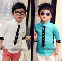 wholesale(5pcs/lot)-  spring BOY  child quality tie shirt a322 0.55kg