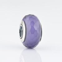 Authentic 925 Silver Core White Six Facted Murano Glass Beads, The Original Jewellers Hallmark JPF001-25