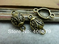 Min.order is $8(mix order) 50pcs Antique Bronze bug Alloy Charms Pendant ,Connector Findings 9*12mm,Free hipping C7232
