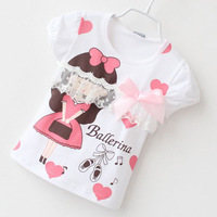 NEW! 5pcs/lot summer children printed kawaii girl & hearts short sleeve t shirt with lace decor &bow