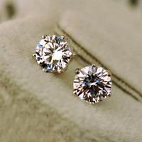 Women men unisex classic AAA+ CZ diamond stud earrings 18K white gold plated hearts and arrows post earrings CZ size 3mm to 10mm