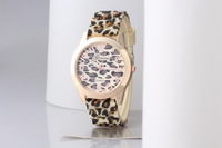 Women's Geneva Watch Leopard gold color Silicone Wristwatches Quartz Ladies dress watch dropship digital time Sport Watches