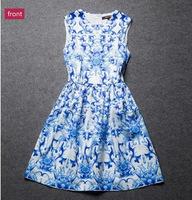 2014 new items European sweet elegant Slim big blue and white porcelain simple round neck sleeveless women chiffon dress 670