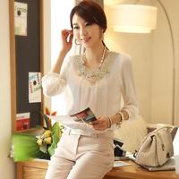 Free shipping 2014 new arrival women chiffon plus size slim lace blouses tops ladies elegant long sleeve basic shirt blouse top