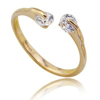 18K Rose Gold Plated Fashion Design Twin Zircon CZ Diamond Engagement Rings for Woman