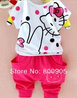 retail children's summer clothing sets girls hello kitty lovely cartoon girl short-sleeves  top tops + pants kids 2 pces set