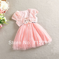 2014 female child summer lace flower one-piece dress puff dress twinset