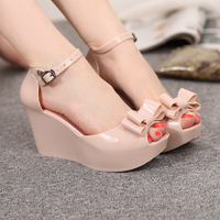 Summer new arrival 2014 open toe sandals cutout plastic bow high-heeled platform wedges platform
