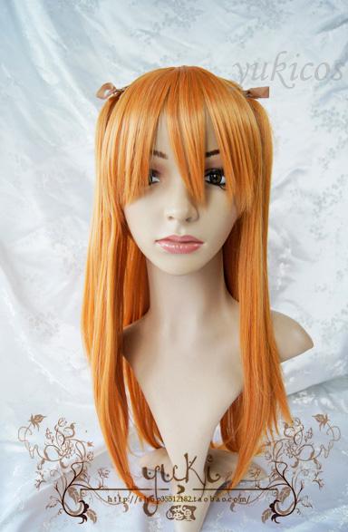 Y-E1-01 Neon Genesis Evangelion Soryu Asuka Langley long orange cosplay wig Anime costume fashion party hair(China (Mainland))