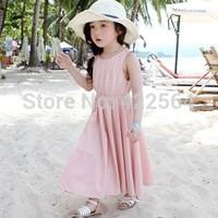 2014 kids girls summer 100% cotton long pink spaghetti strap tank children dress girl child dresses Free Shipping