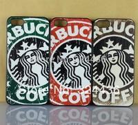 10pcs Retro Vintage Starbucks Hard Plastic Phone Cases For Iphone  4 4S free shipping