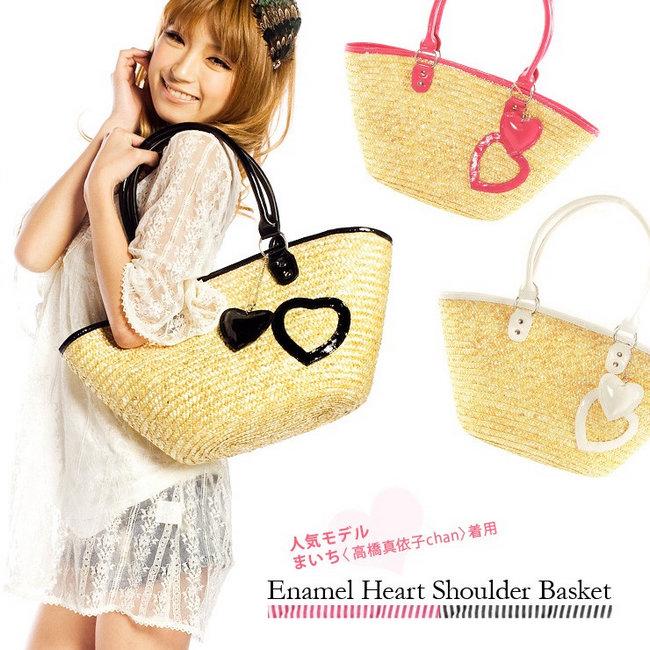 2014 new arrival love sweet straw woven bag big rattan bag beach bag()