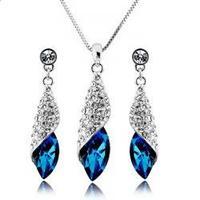 women elegant fashion crystal necklace & pendant ornament blue earrings  wedding jewelry sets for brides joias de perola bijoux