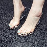 2014 korean  lady  fashion sexy wedges transparent pvc high heel sandal women slides    free shipping