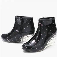 Waterproof Women Wellies Boots Fashion Rain Boots Female Short High-Heeled Boots Rain Shoes Woman Rubber Shoes free shipping