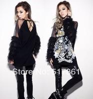 New Korean Women Girl's Clothing O-Neck Long Sleeve Casual Black Tops Shirt T-Shirt Free Shipping