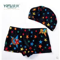 Lovely children 2 in 1 Swimming trunks + caps set, handsome boy swimwear + Free shipping