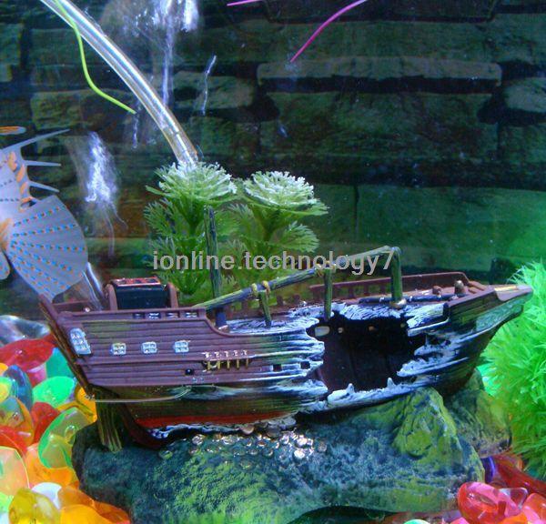 Aquarium Led Lighting New Arrival Swimming Pool Accessories Action Air Sunken Ship Fish Tank Ornament Decor for Aquarium Oj3(China (Mainland))