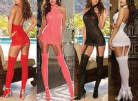 2014 New Arrival New Women's Sexy Lingerie Black Red Lace Dress+G string+Stocking+Garter Belt