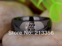 Free Shipping UK Russia Brazil USA Hot Selling 8MM Black Dome Firefighter New Men's Lord Fashion Tungsten Carbide Wedding Ring