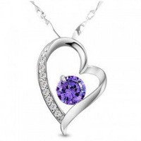 (Minimum order $ 15) Free Shipping Hotselling Platinum Plated shine Zircon Love Heart Pendant Necklace crystal Jewelry
