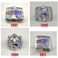Replica NFL Free shipping fashion rhodium plated 2001 2003 2004 2011 New England Patriots Super Bowl Championship Ring