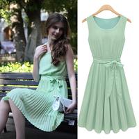 2014 Fashion Sleeveless Pleated O-neck Chiffon Tank Dress One-piece Dress European Sweet Dress Light Green 4 Colors Available