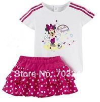 Free shipping 2014 Summer New 5sets/lot Brand children girls short sleeve t-shirts+skirts 2pcs clothing set suit in stock