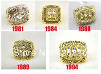 Replica NFL Free shipping fashion 18K gold plated 1981 1984 1988 1989 1994 San Francisco 49ers super bowl Championship Ring