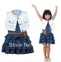 2014 New arrive children nice girls Denim vest skirt two pcs set chidlren white pants wear cotton suit children clothing set