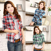 Summer 2014 Women Fashion High-Quality Long-Sleeved Shirt Slim Lapel Plaid Cotton Blouses