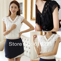 New 2014 spring Summer Women Blouses short sleeve Solid Fashion Chiffon Blouse Tops Shirt free shipping B034 size S-XXL