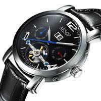 Aesop fashion tourbillon self wind automatic mechanical watch waterproof male watch mens watch strap 9978