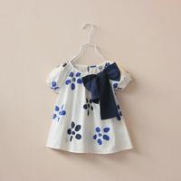 CS4052 Girls cotton white flower print summer short sleeve blouse top wear big bow