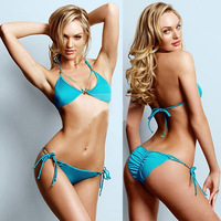 New 2014 Summer Spring Sexy Women Solid Color Bikinis Set blue bikini triangle swimwear female bathing suit Swimsuit h0357