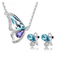 (Minimum order $ 15)Wholesale 18K white gold plated austrian crystal butterfly women fashion necklace/earrings jewelry set