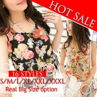 New 2014 Tank Tops Shirt S-XXXL Plus Size Flower Print Fashion Women Clothing Casual Vest Femininas Camisas Women Tops Tee Shirt