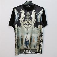 2014 tide of street fashion print silk loose short-sleeve T-shirt