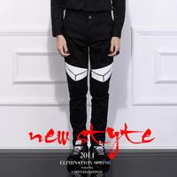 Original design men's clothing 2014 spring fashion patchwork slim pencil pants male
