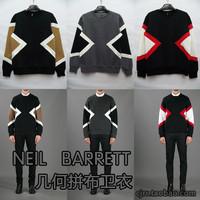 Neil 2013 barrett gv-ktz male graphic geometric patterns patchwork pullover sweatshirt outerwear