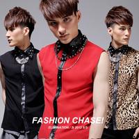 Trend 2014 men's clothing fashion leopard print rivet shirt red sleeveless shirt