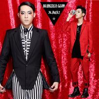 Original design fashion forward 2013 men's clothing fashion zipper suit slim red blazer